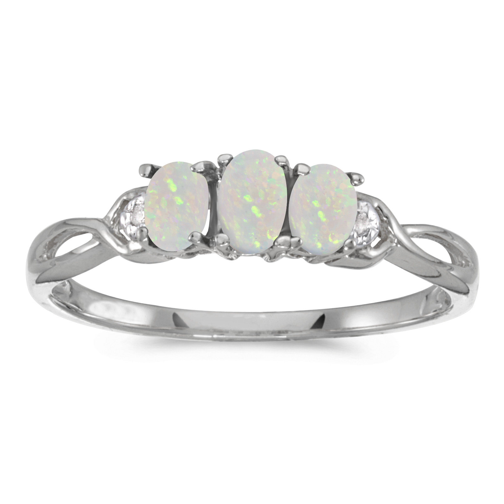 Direct-Jewelry 14k White Gold Oval Opal And Diamond Three Stone Ring