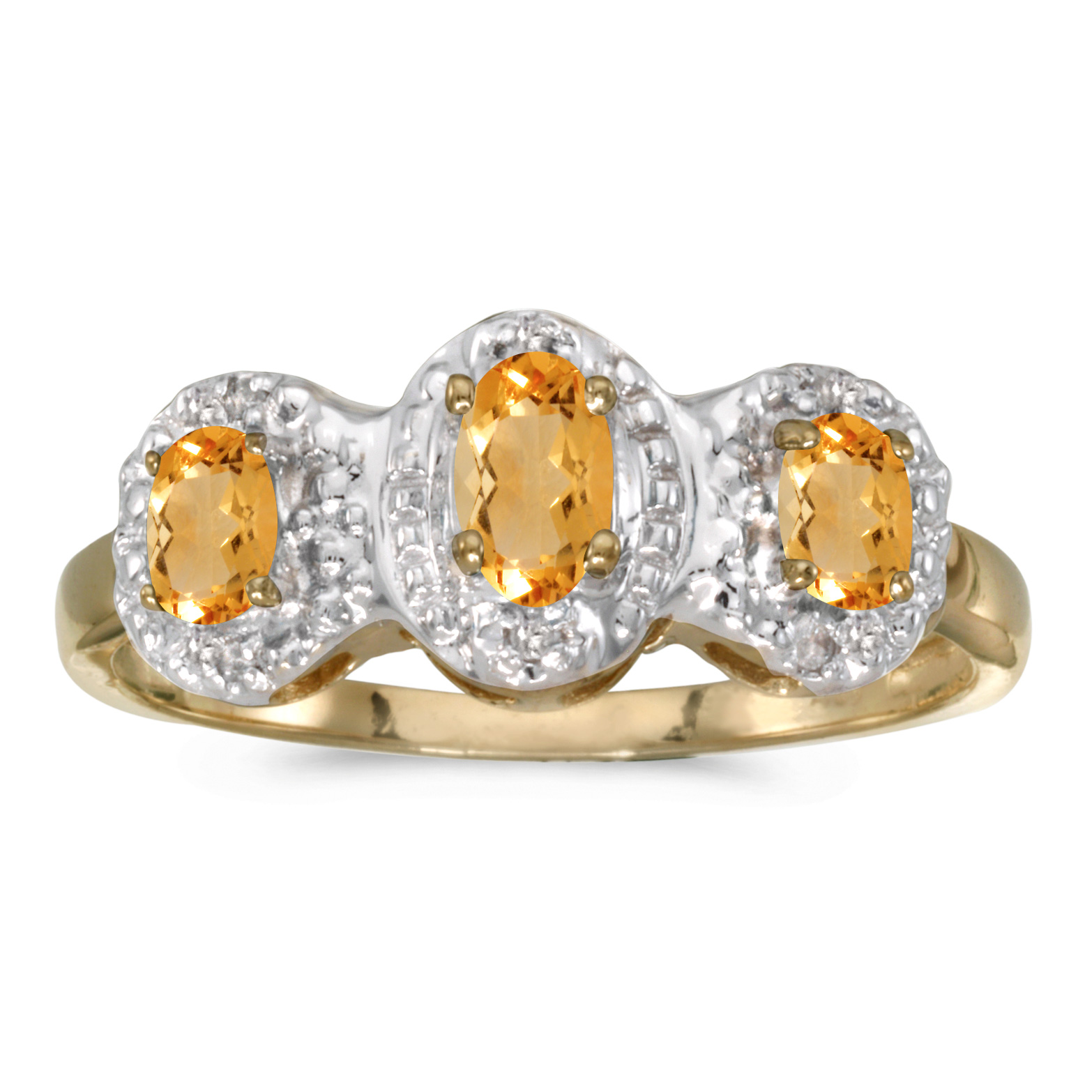 Direct-Jewelry 10k Yellow Gold Oval Citrine And Diamond Three Stone Ring