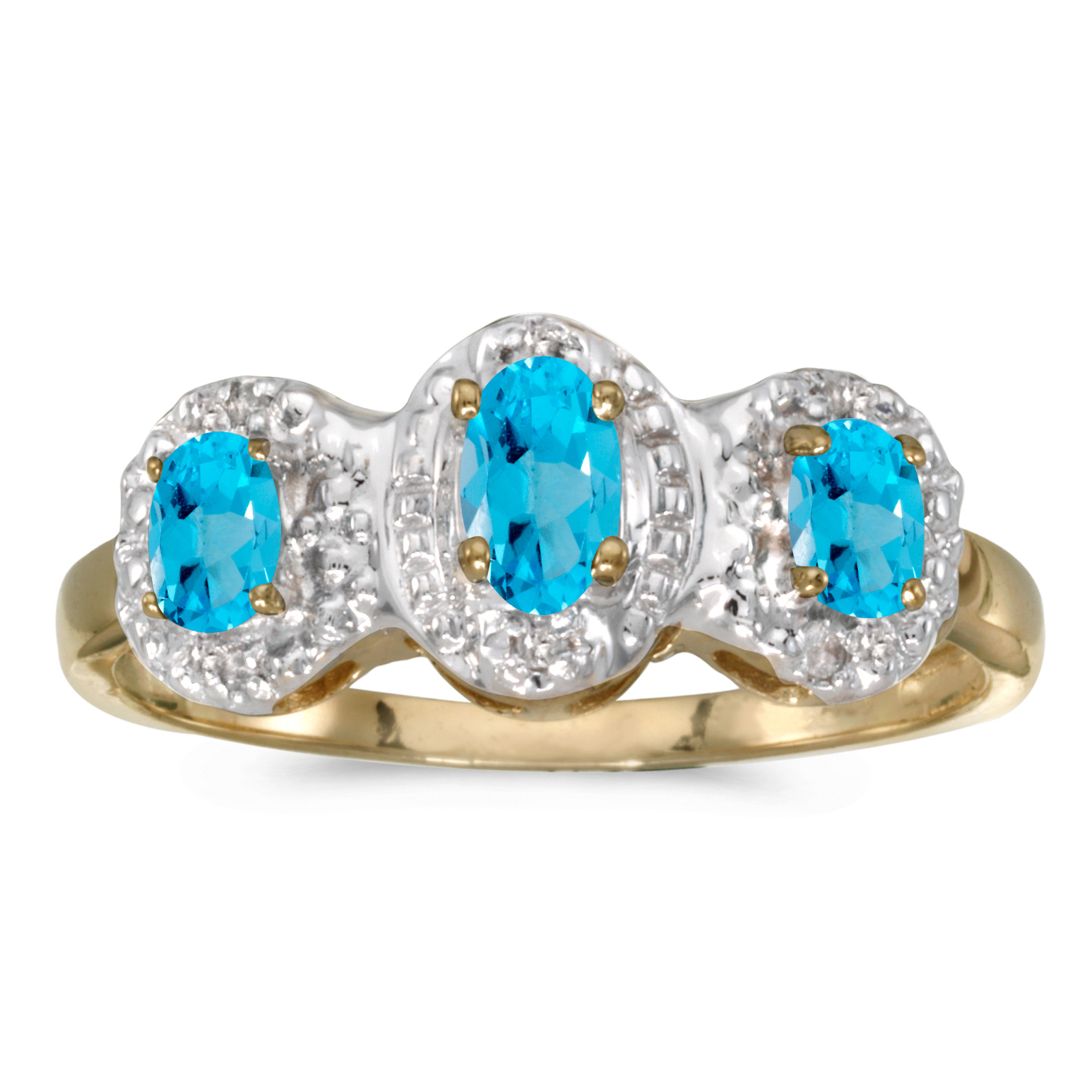 Direct-Jewelry 10k Yellow Gold Oval Blue Topaz And Diamond Three Stone Ring
