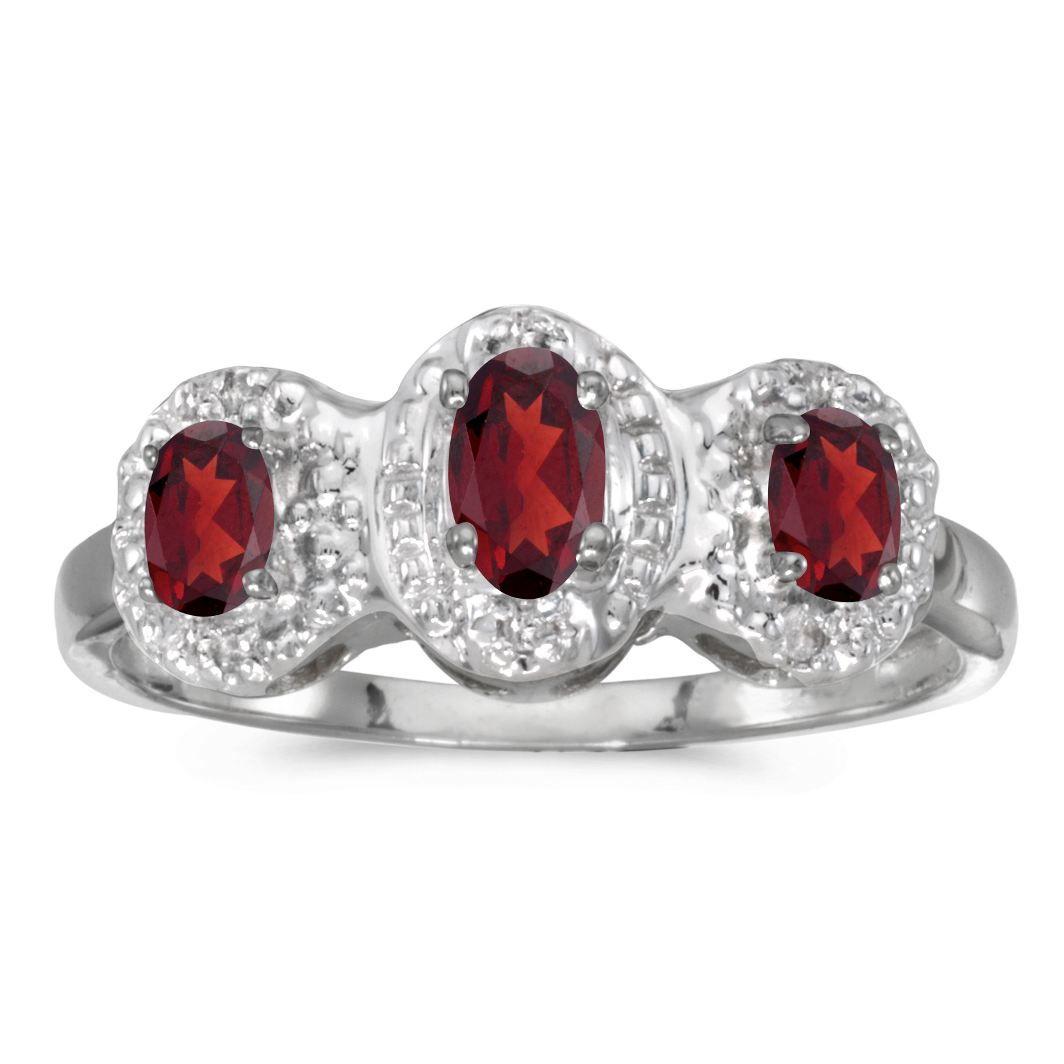 Direct-Jewelry 10k White Gold Oval Garnet And Diamond Three Stone Ring