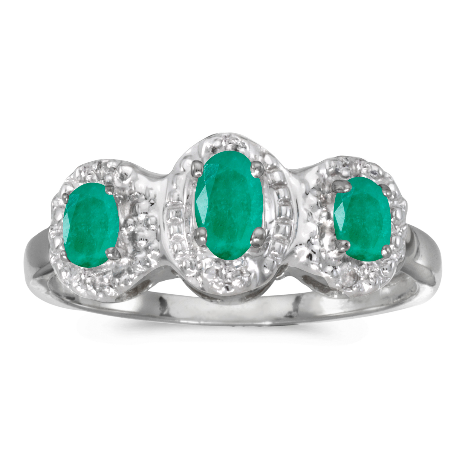 Direct-Jewelry 10k White Gold Oval Emerald And Diamond Three Stone Ring