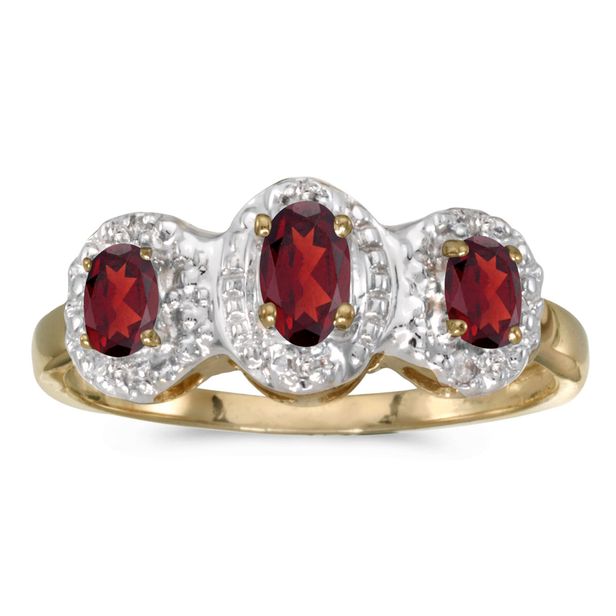 Direct-Jewelry 14k Yellow Gold Oval Garnet And Diamond Three Stone Ring