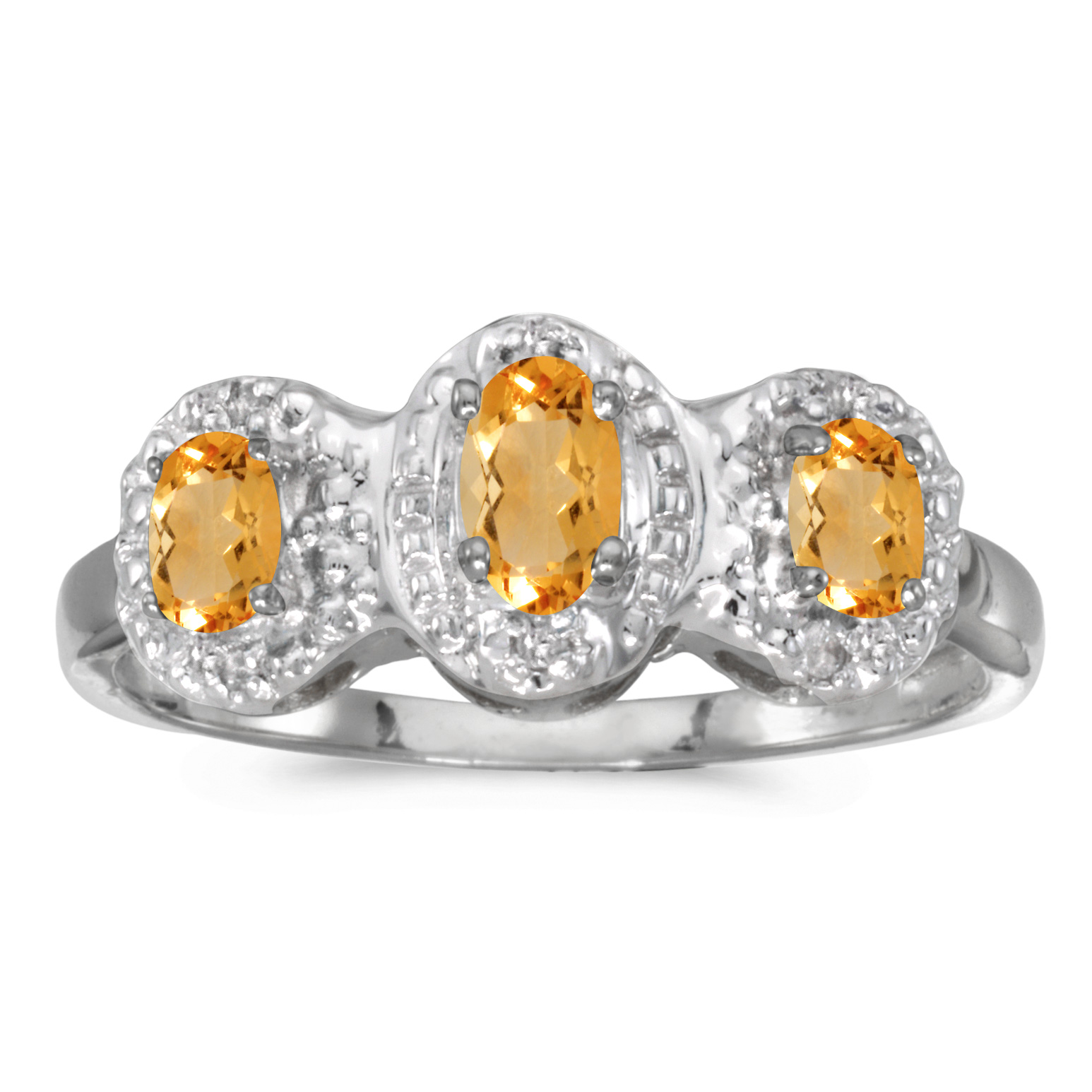 Direct-Jewelry 14k White Gold Oval Citrine And Diamond Three Stone Ring