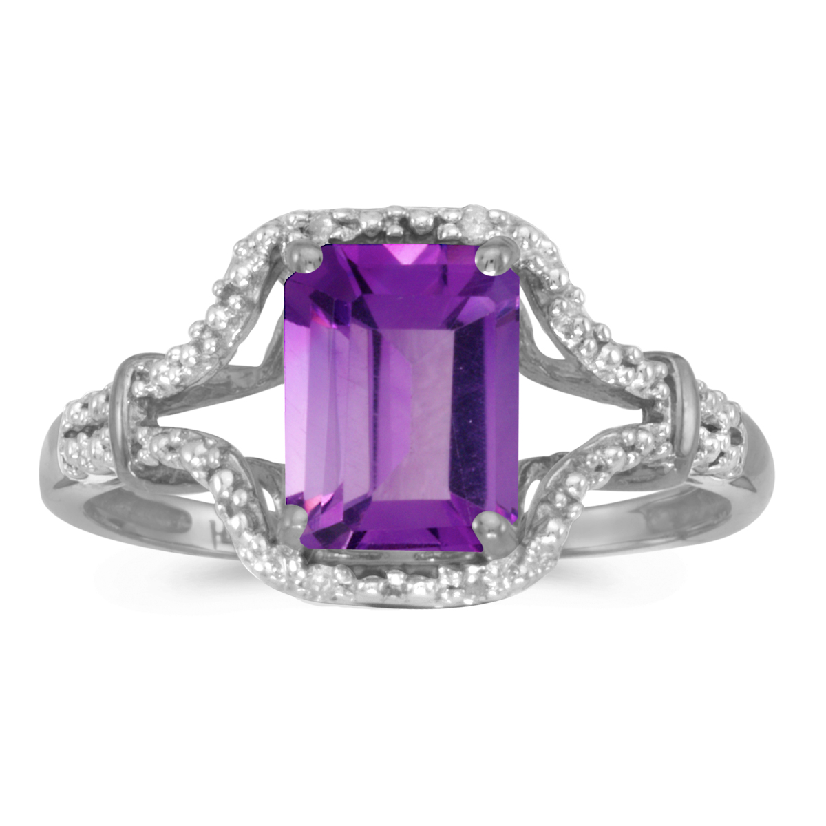 Direct-Jewelry 14k White Gold Emerald-cut Amethyst And Diamond Ring