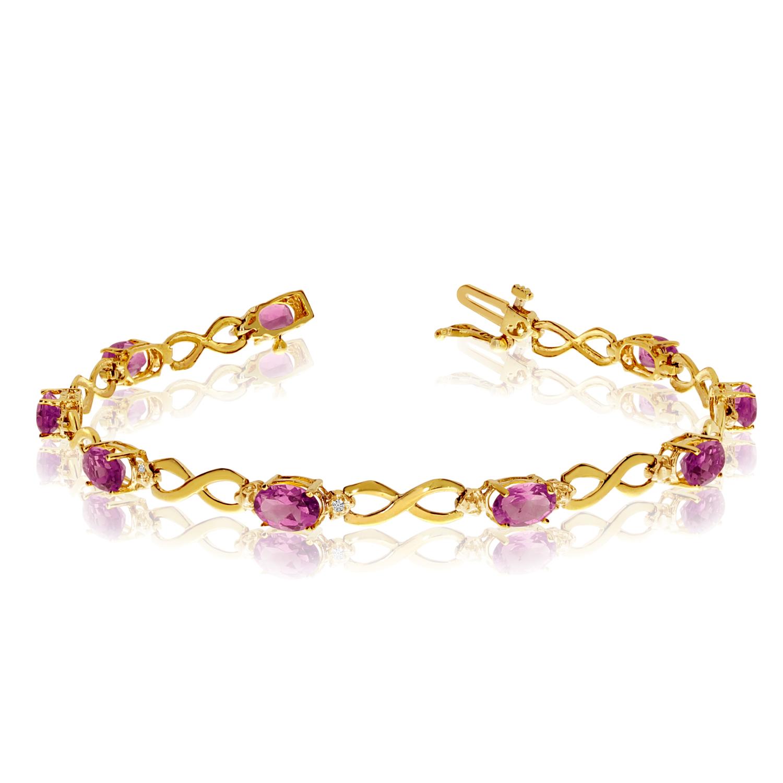 Direct-Jewelry 10K Yellow Gold Oval Pink Topaz and Diamond Bracelet