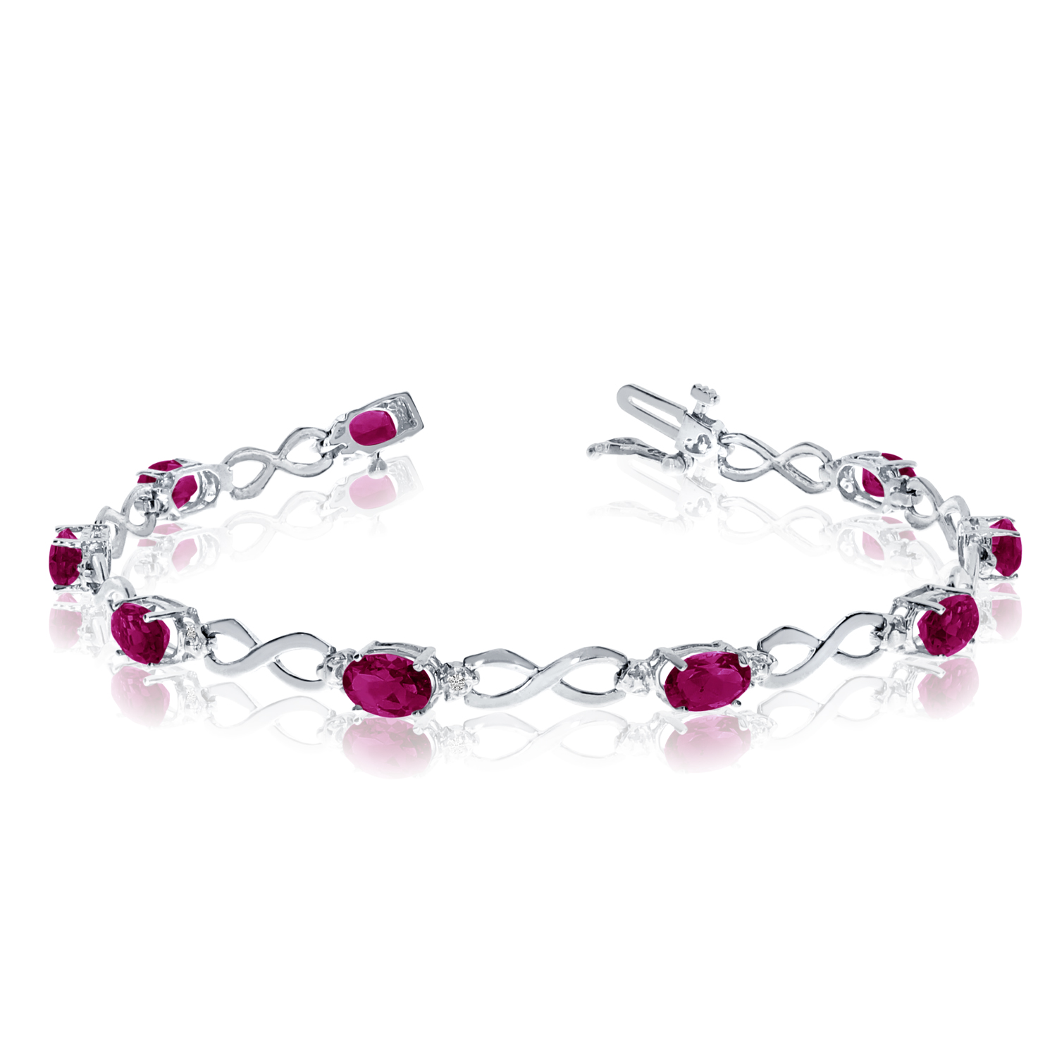 Direct-Jewelry 14K White Gold Oval Ruby and Diamond Bracelet
