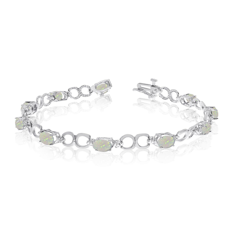 Direct-Jewelry 10K White Gold Oval Opal and Diamond Bracelet