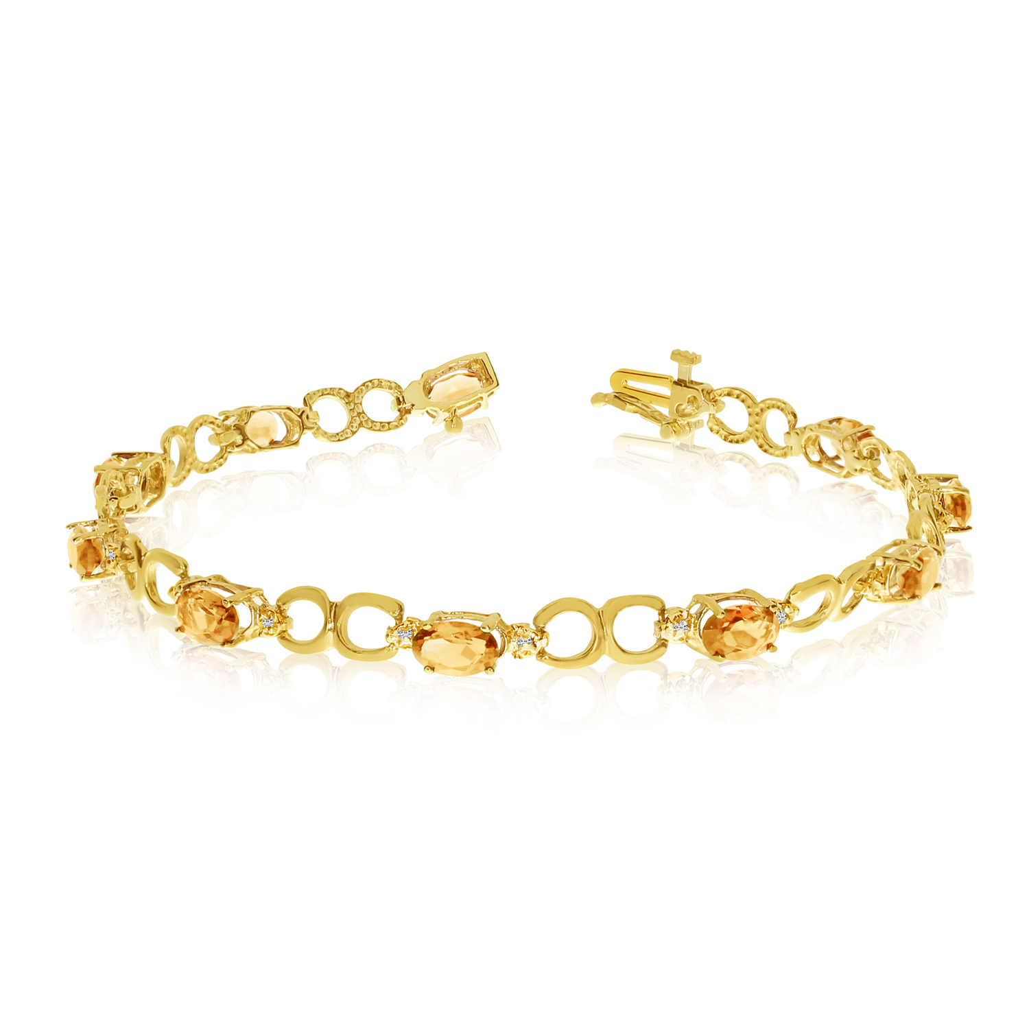 Direct-Jewelry 14K Yellow Gold Oval Citrine and Diamond Bracelet at Sears.com