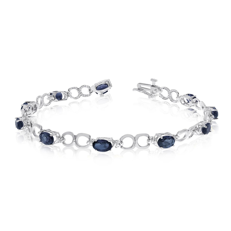 Direct-Jewelry 14k White Gold Oval Sapphire and Diamond Bracelet