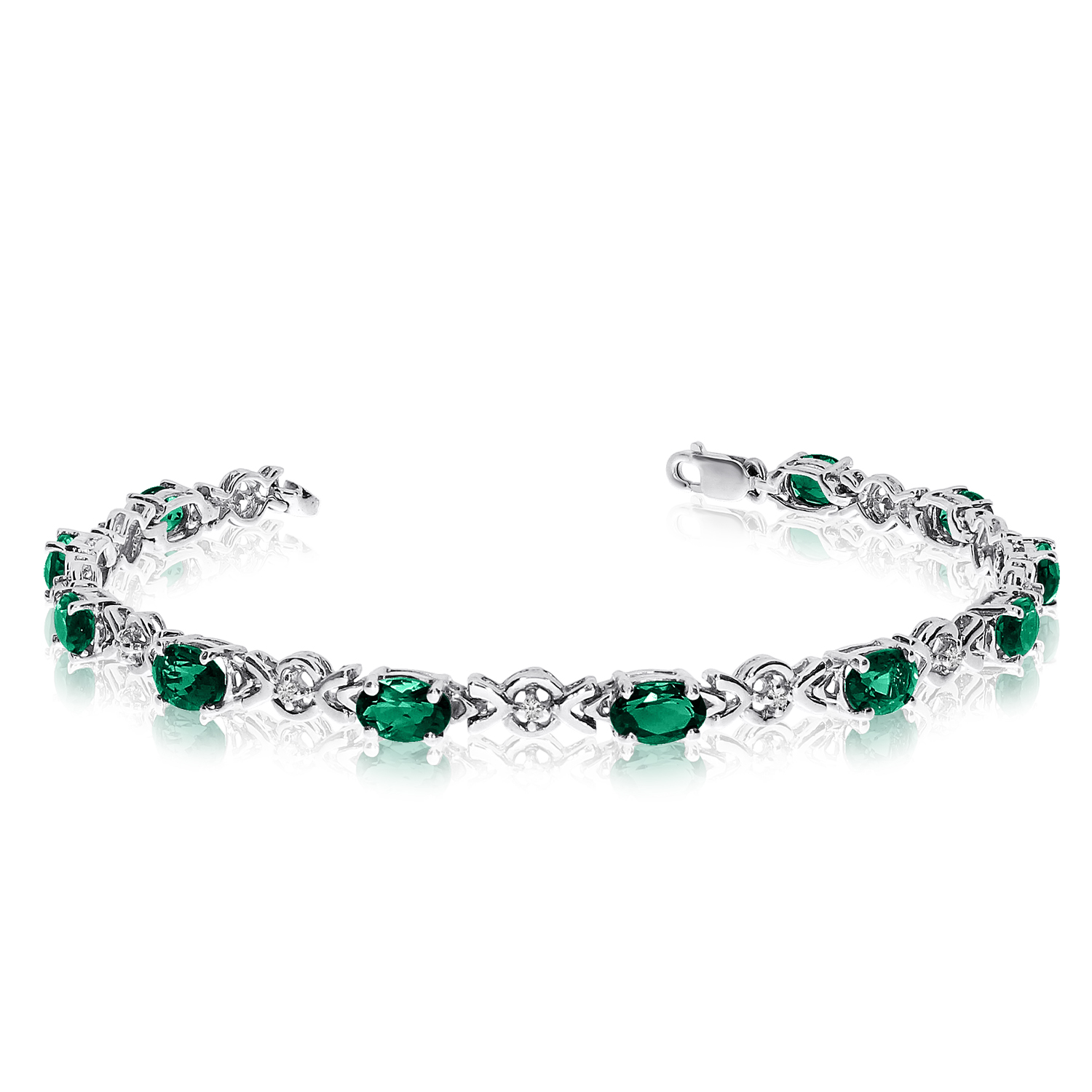 Direct-Jewelry 14K White Gold Oval Emerald and Diamond Bracelet