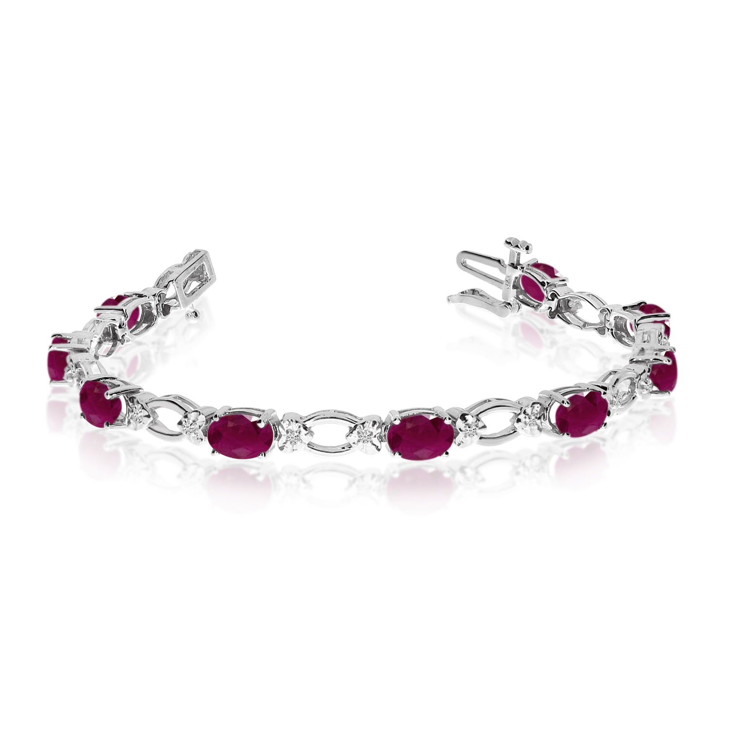 Direct-Jewelry 14k White Gold Natural Ruby And Diamond Tennis Bracelet
