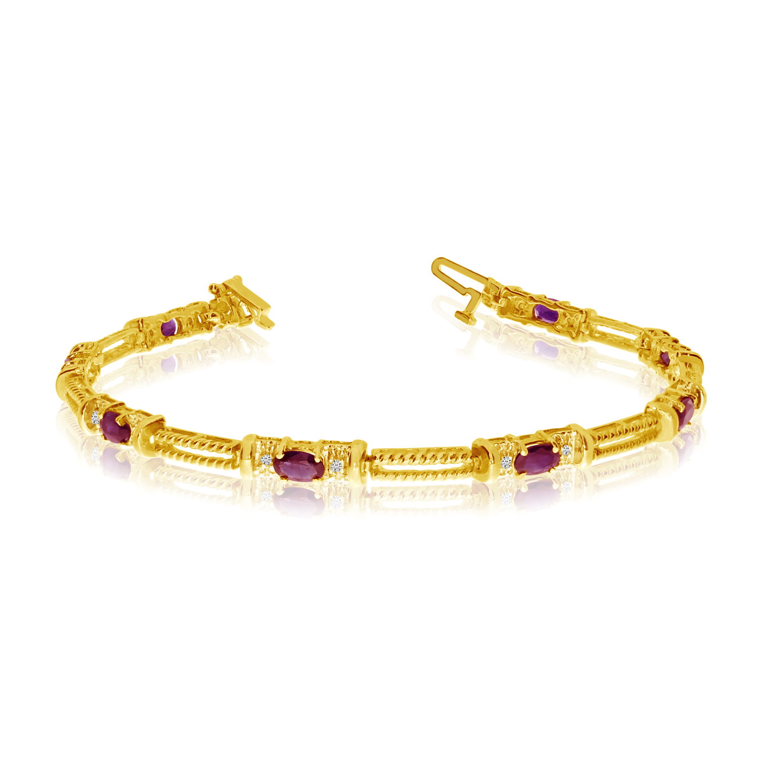 Direct-Jewelry 14k Yellow Gold Natural Ruby And Diamond Tennis Bracelet