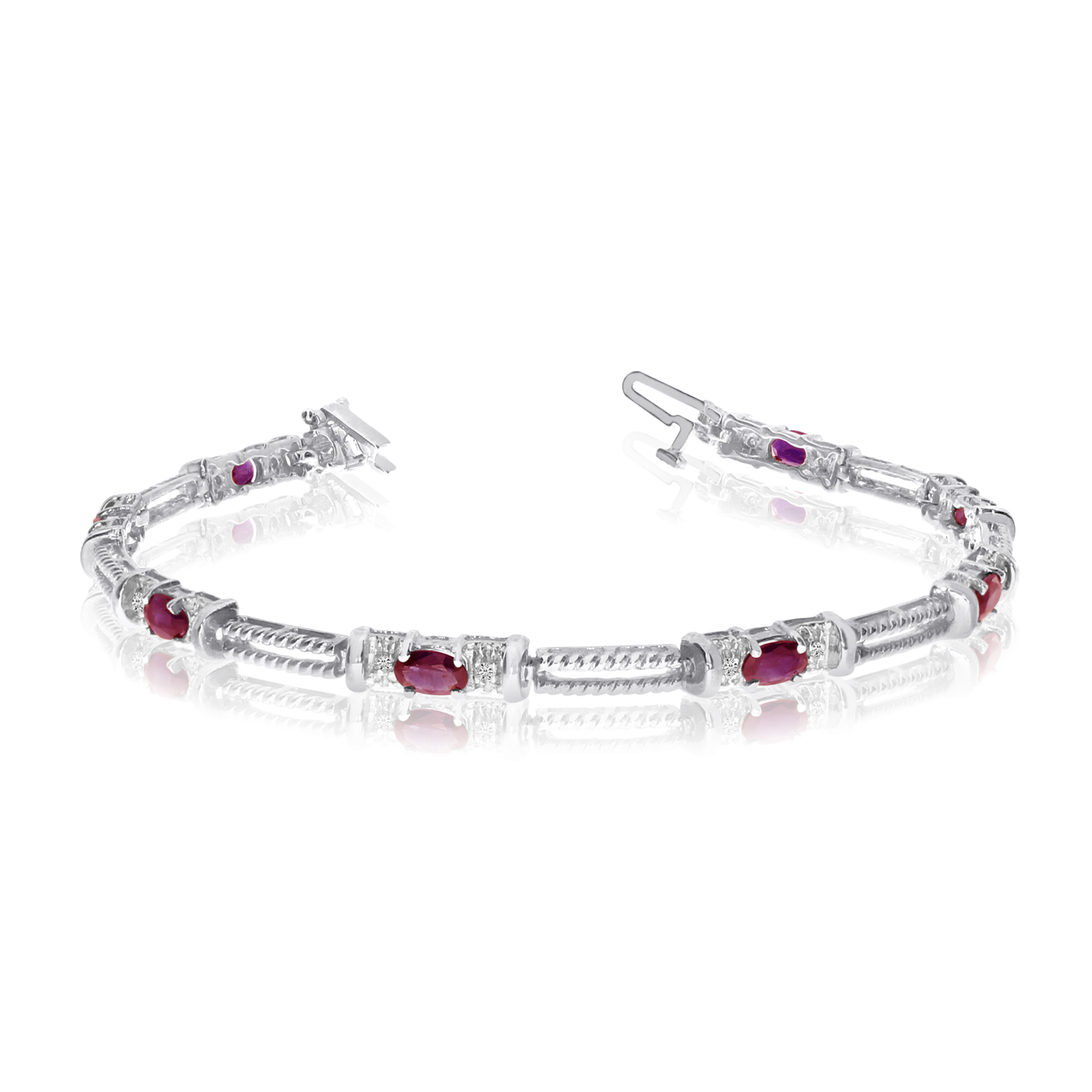 Direct-Jewelry 10k White Gold Natural Ruby And Diamond Tennis Bracelet