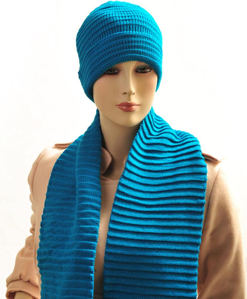 Dapper World New Women's Turquoise Solid Color Scarf And Hat Set WNTSET04 at Sears.com