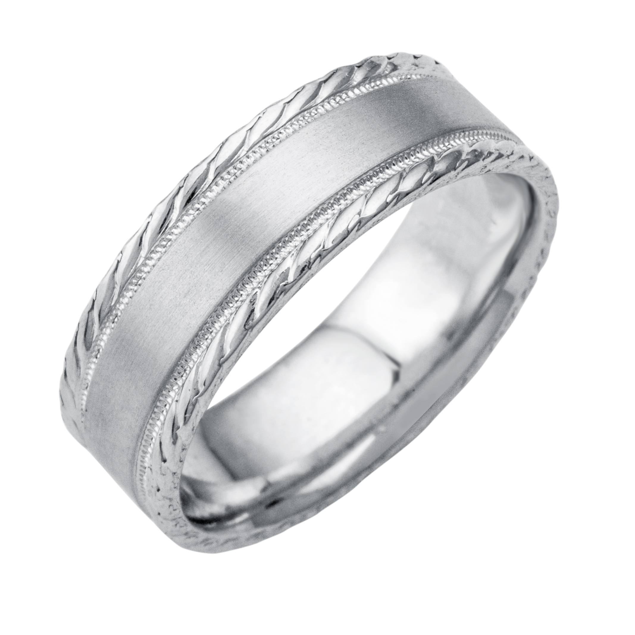 14K18K White Or Yellow Gold Rope And Milgrain Design Mens Wedding