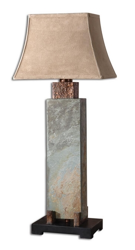 "UtterMost 37"" Natural Slate Green Table Lamp w/ Tan Rectangular Bell Lamp Shade at Sears.com"