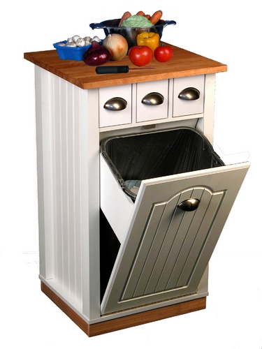 "Venture Horizon 35"" Butcher Block Bin w/ Trash Pantry & 3 Small Storage Drawers - White at Sears.com"