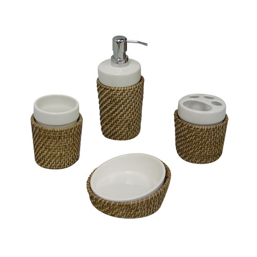 Elegant Home Hana 4 Piece Woven Rattan Bathroom Bath Accessory Set - Honey at Sears.com