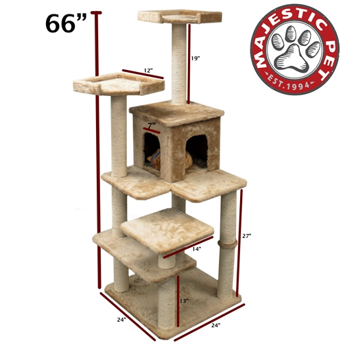 "Majestic Pet 66"" Majestic Pet Casita Faux Fur & Sissal Rope Cat Tree Scratching Post at Sears.com"