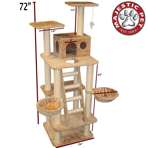 "Majestic Pet 72"" Majestic Pet Casita Faux Fur & Sissal Rope Cat Tree Scratching Post at Sears.com"