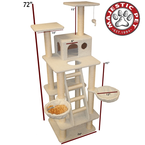 "Majestic Pet 72"" Majestic Pet Bungalow Faux Sheepskin Cat Tree Scratching Post at Sears.com"