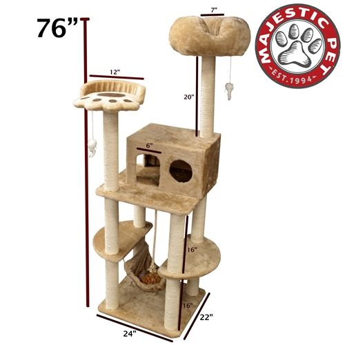 "Majestic Pet 76"" Majestic Pet Casita Faux Fur & Sissal Rope Cat Tree Scratching Post at Sears.com"