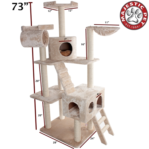"Majestic Pet 73"" Majestic Pet Casita Faux Fur & Sissal Rope Cat Tree Scratching Post at Sears.com"