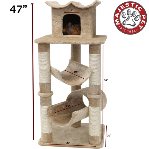 "Majestic Pet 47"" Majestic Pet Casita Faux Fur & Sissal Rope Cat Tree Scratching Post at Sears.com"