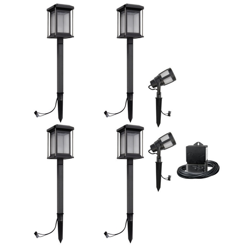 new malibu 6 pc low voltage led square caged landscape light kit w. Black Bedroom Furniture Sets. Home Design Ideas