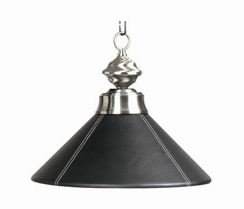 Poker Table Lighting Fixtures: Black Faux Leather Hanging Pendant Poker Table Light