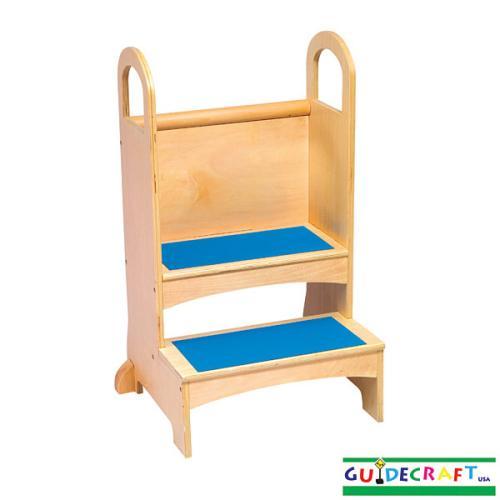 new wooden kids high rise wood step stool step ladder ebay. Black Bedroom Furniture Sets. Home Design Ideas