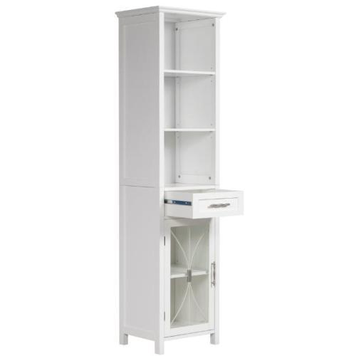 new delaney bathroom linen cabinet w drawer 3 open shelves white