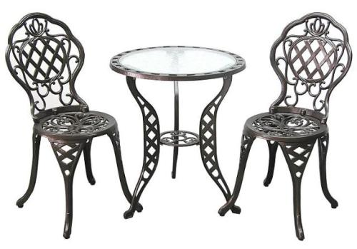 Innova 3 pc Regis Aluminum & Iron Outdoor Patio Bistro Set - Antique Brass at Sears.com