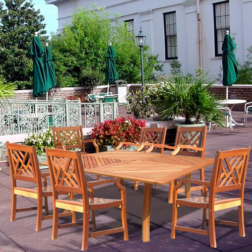 Vifah Patio Wood Square Table & 6 Wood Armchair Outdoor Dining Set - Natural at Sears.com