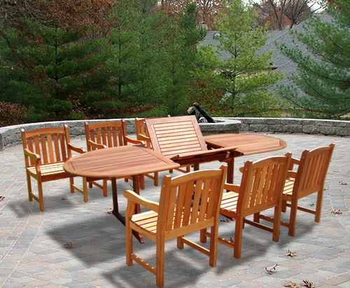 Vifah Outdoor Patio & Garden Oval Extension Table & Set Of 6 Slat Back Chairs at Sears.com