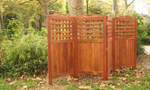 New 48 outdoor acacia wood patio spa privacy screen w for Wood patio privacy screens