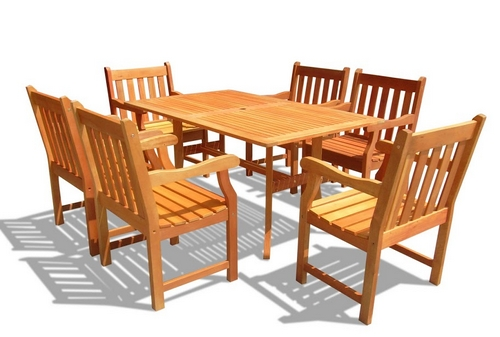 Vifah Outdoor Rectangular Curvy Dining Table Set w/ 6 Slat Back Patio Chairs at Sears.com