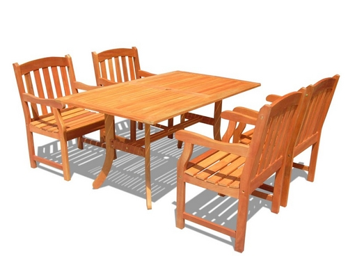 Vifah Outdoor Rectangular Curvy Dining Patio Table Set w/ 4 Patio Arm Chairs at Sears.com