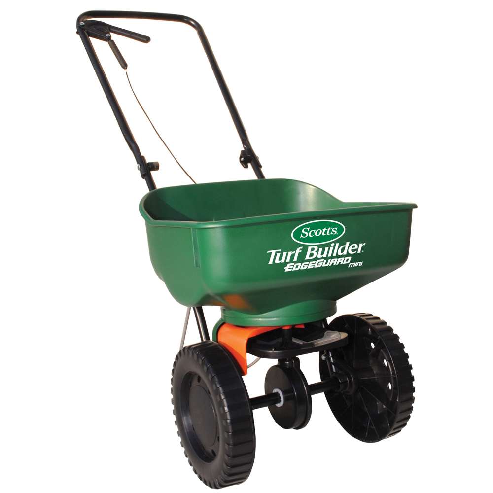 the mini spreader holds up to 5,000 sq ft of scotts lawn