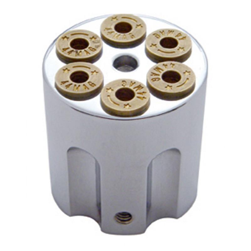 Chrome Aluminum .44 Mag Revolver Gun Barrel Cylinder Dash Knob Hot Rat Street Rod