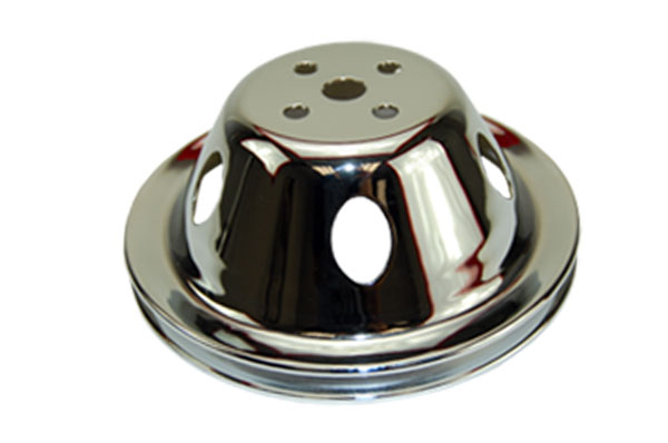 SBC Chevy 283-350 Chrome Steel Vented SWP Single Groove Water Pump Pulley