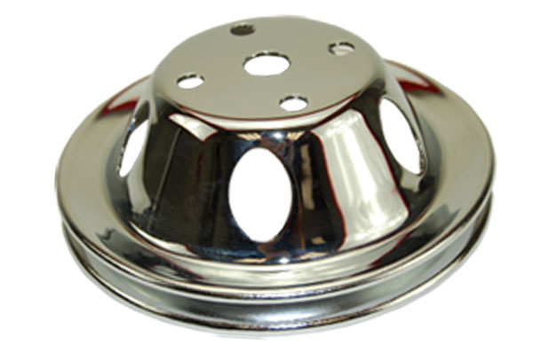 SBC Chevy 283-350 Chrome Steel Vented LWP Single Groove Water Pump Pulley
