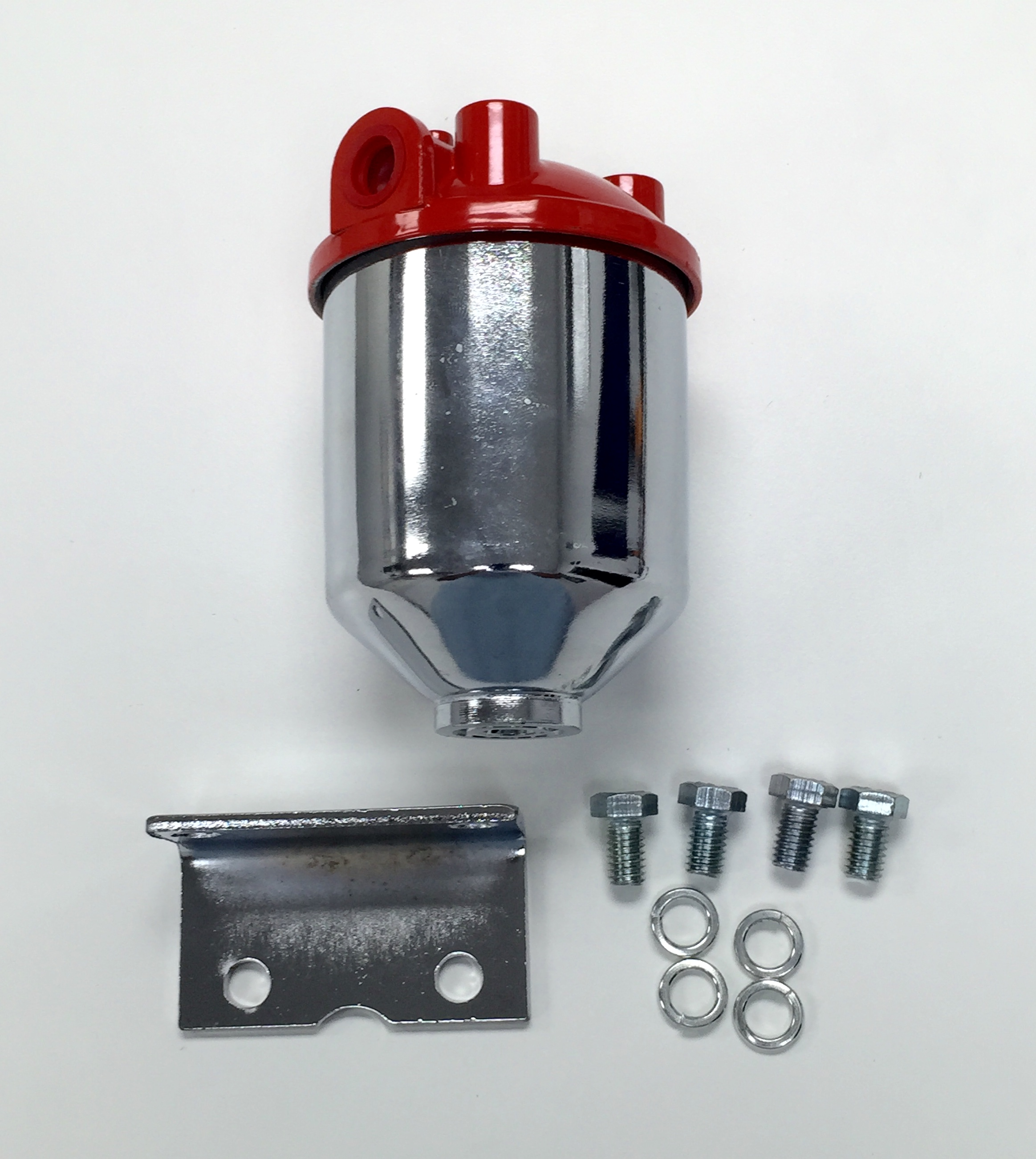 Hot Rod Chrome Single Port Fuel Filter Red Top Large Capacity