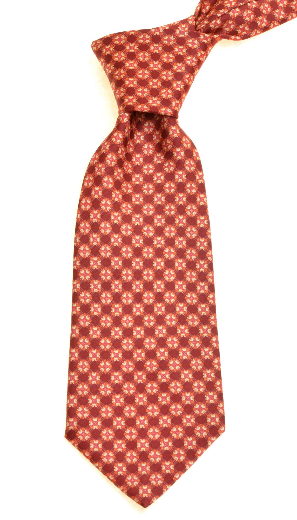 Brioni Men's Neck Tie Geometric Pattern Red 002