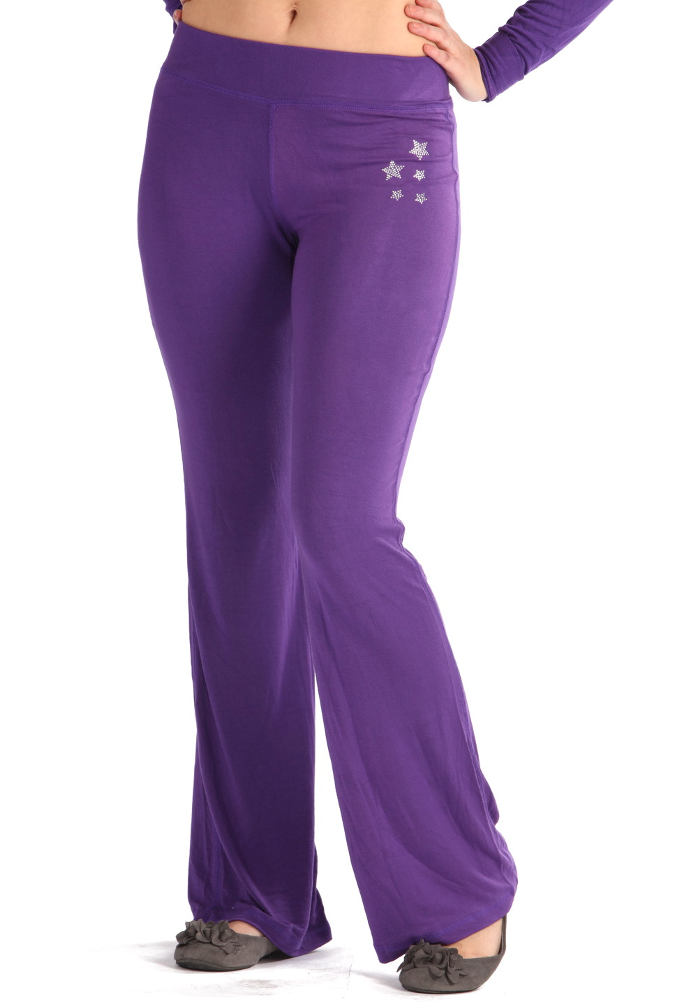Unique  Apparel Women39s Purple Cotton Spandex Jersey Straight Leg Yoga Pants