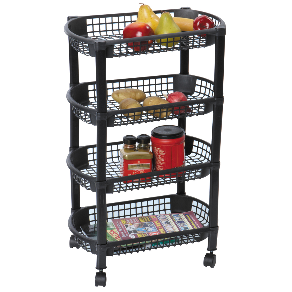 Mbr Industries St 31510 4 Tier Rolling Kitchen Cart Black