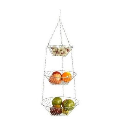 Rsvp Chrome 3 Tier Hanging Wire Metal Basket Fruit
