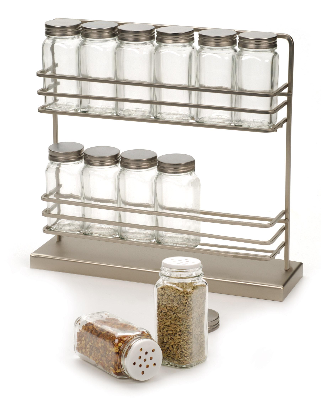Rsvp Brushed Steel Spice Rack W/ 12 Spice Herb Jars
