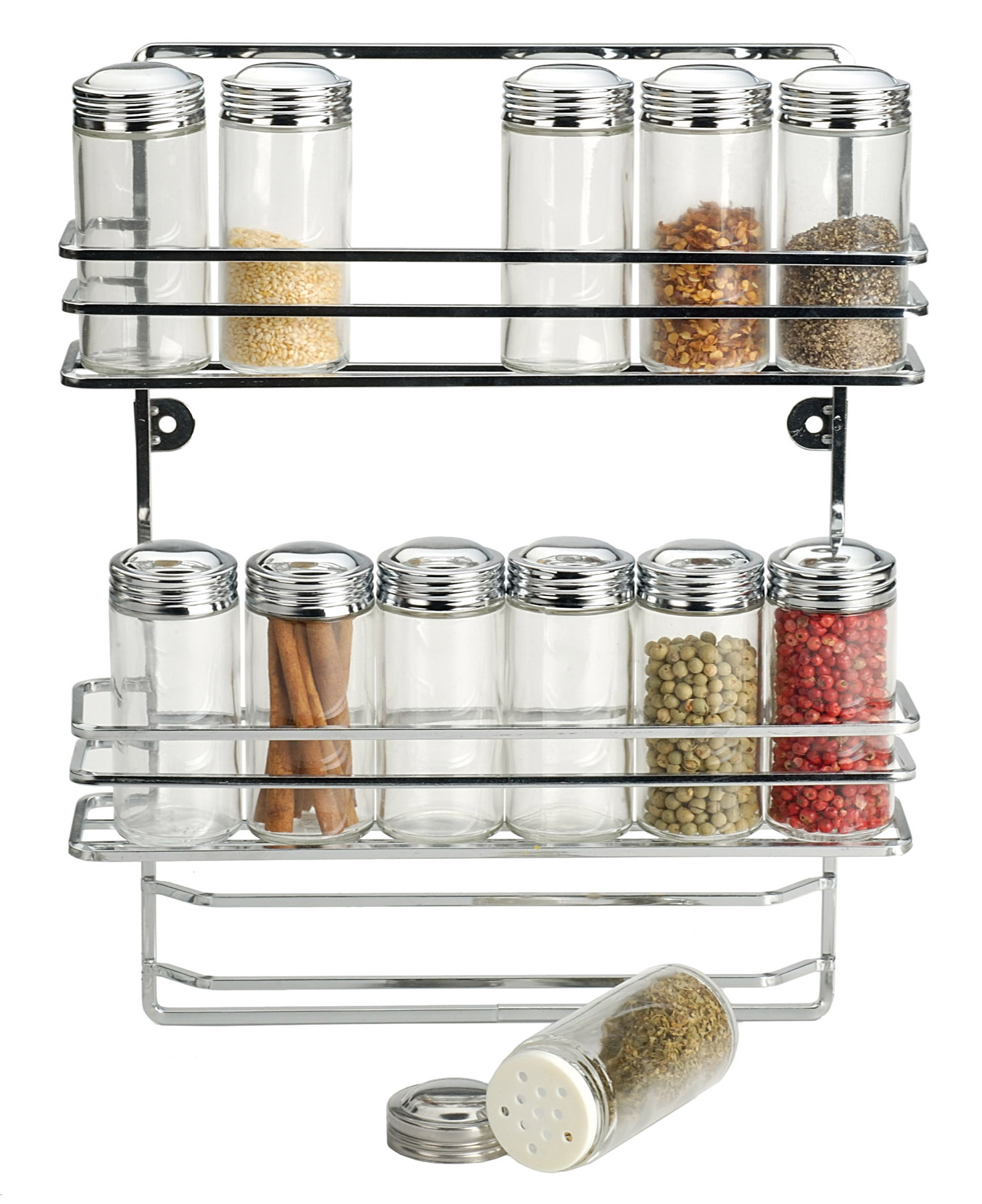 Rsvp wall cabinet mount herb spice rack 12 bottle jar kitchen organization new ebay - Wall mounted spice racks for kitchen ...