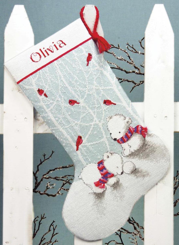 Носок новогодний с вышивкой крестом